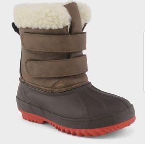 Winter Boots Brown Waterproof Fur Trim Boys Sz 5